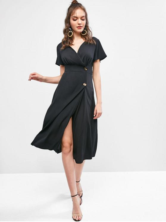 lady Low Cut Buttoned A Line Solid Dress - BLACK S