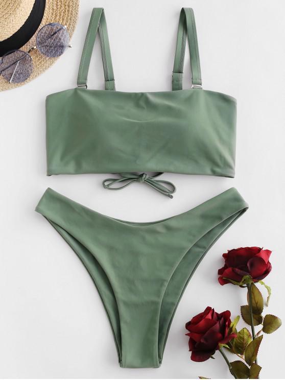 buy ZAFUL Lace Up High Leg Padded Bikini Swimsuit - CAMOUFLAGE GREEN L