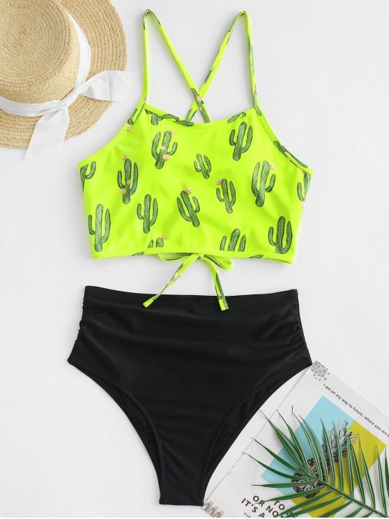 chic ZAFUL Cactus Lace Up Tummy Control Tankini Swimsuit - LAWN GREEN M