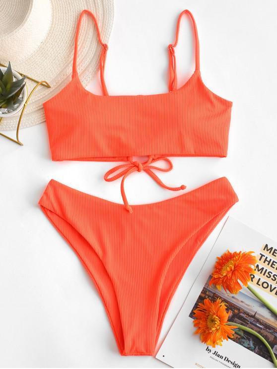 trendy ZAFUL Lace-up Ribbed High Leg Bikini Swimsuit - ORANGE L