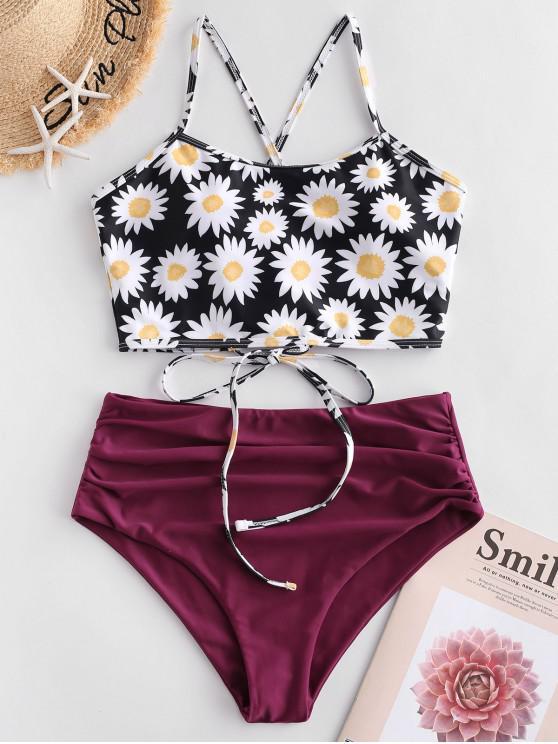 women ZAFUL Daisy Print Lace Up Tummy Control Tankini Swimsuit - MULTI-A XL