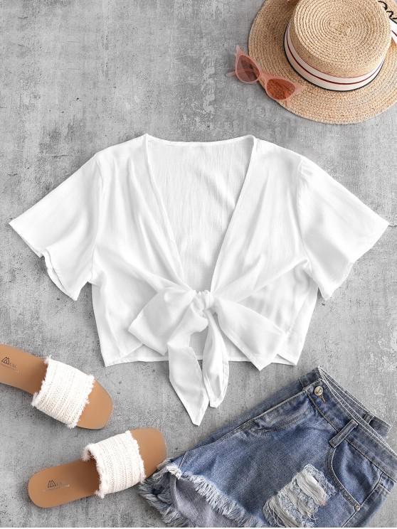 shop Plunge Tie Front Crop Top - WHITE L