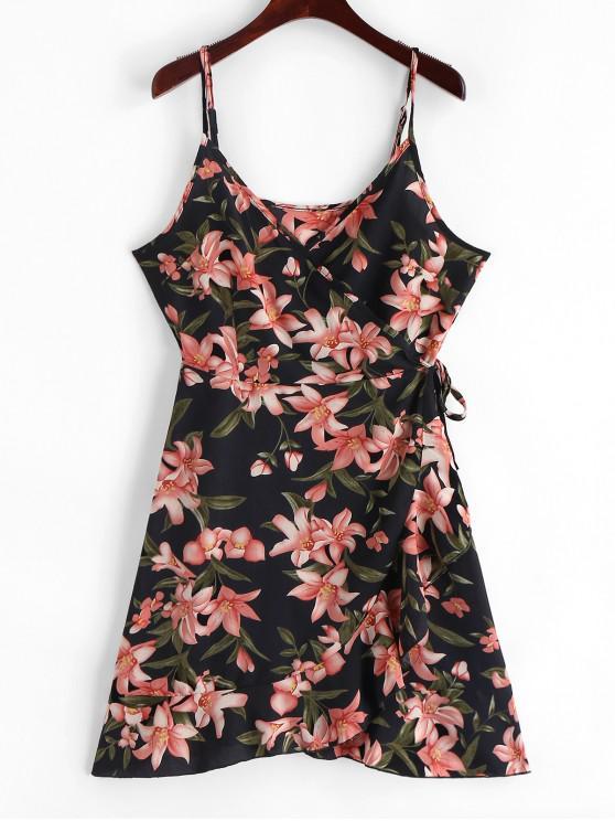outfit Cami Ruffles Floral Wrap Mini Dress - BLACK M