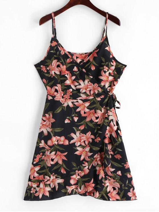 Cami Ruffles Floral Wrap Mini Dress - Nero S