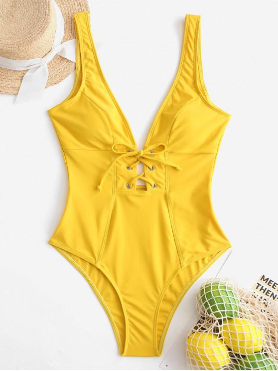 affordable ZAFUL Lace Up Plunging Open Back Swimsuit - GOLDEN BROWN XL