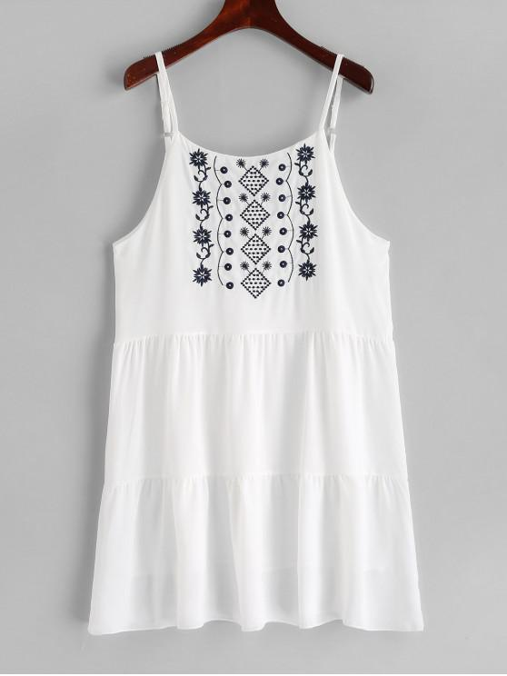 latest Embroidered Cami Mini A Line Dress - WHITE S
