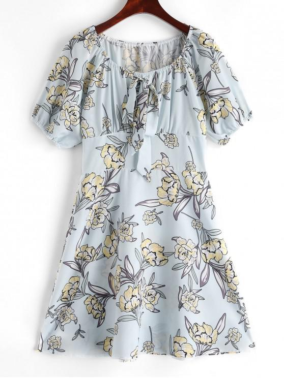 buy Floral Knot Milkmaid Dress - ROBIN EGG BLUE S