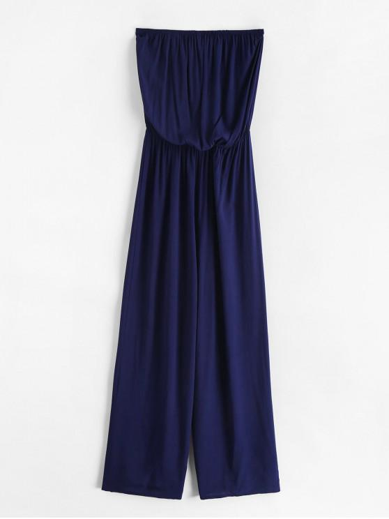 new Solid Color Strapless Wide Leg Jumpsuit - DEEP BLUE S