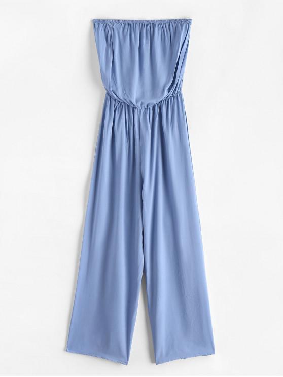 outfit Solid Color Strapless Wide Leg Jumpsuit - LIGHT BLUE L