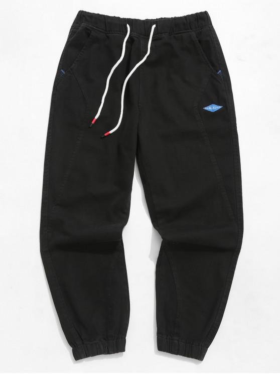 Pantalon de Jogging Lettre en Couleur Unie - Noir XS