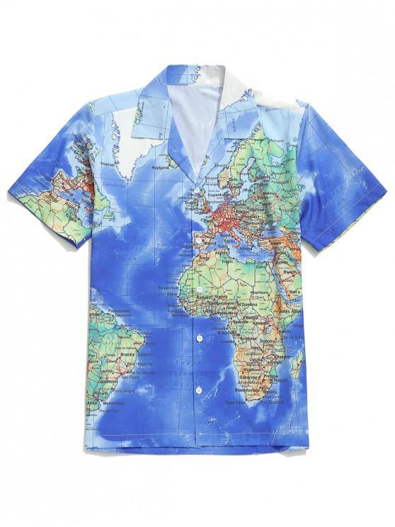 Camisa casual con botones y estampado gráfico del mapa del mundo detallado - Multicolor 2XL