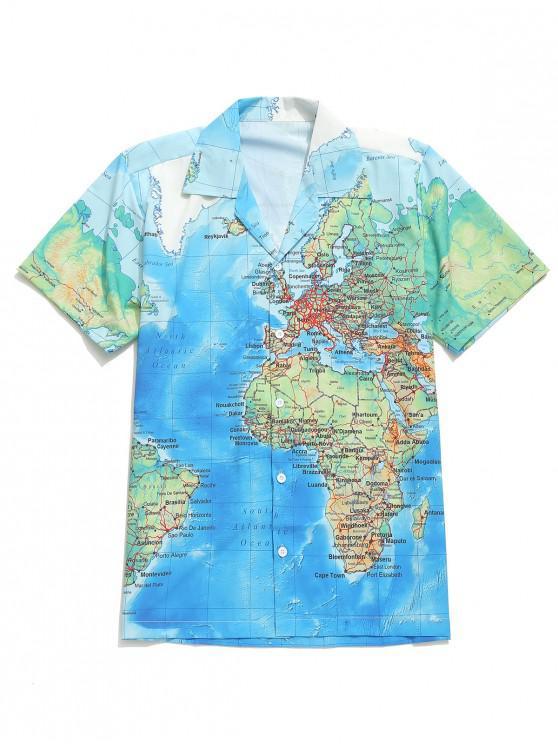 Camisa casual con botones y estampado gráfico del mapa del mundo detallado - Multicolor-A 2XL