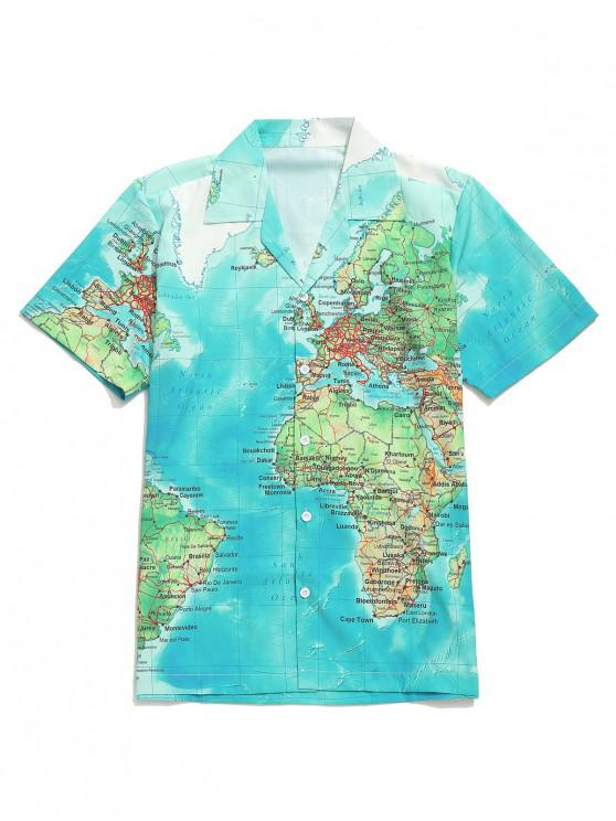 fancy Detailed World Map Graphic Print Casual Button Shirt - MULTI-B L
