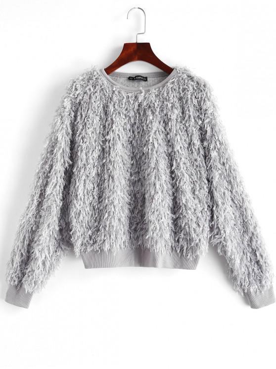buy ZAFUL Solid Color Drop Shoulder Fuzzy Sweatshirt - DARK GRAY S