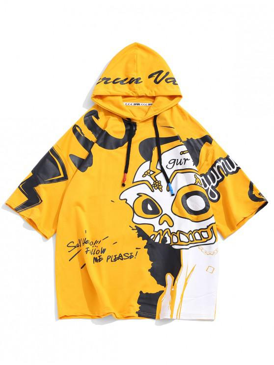 womens Panda Pattern Letter Graphic Print Casual Hoodie - YELLOW L