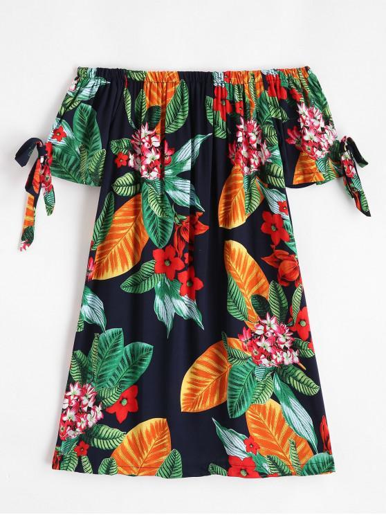 shops Knotted Floral Leaves Off Shoulder Mini Dress - MIDNIGHT BLUE L