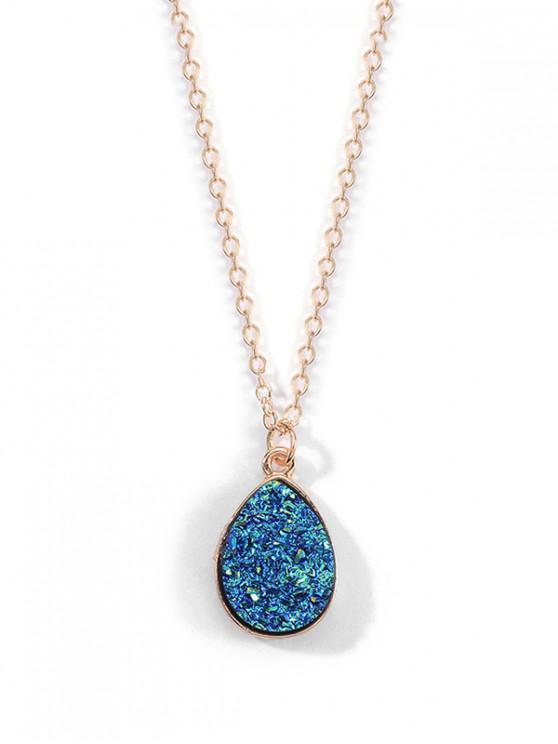 Collar de piedra natural colgante de gota de agua - Azul