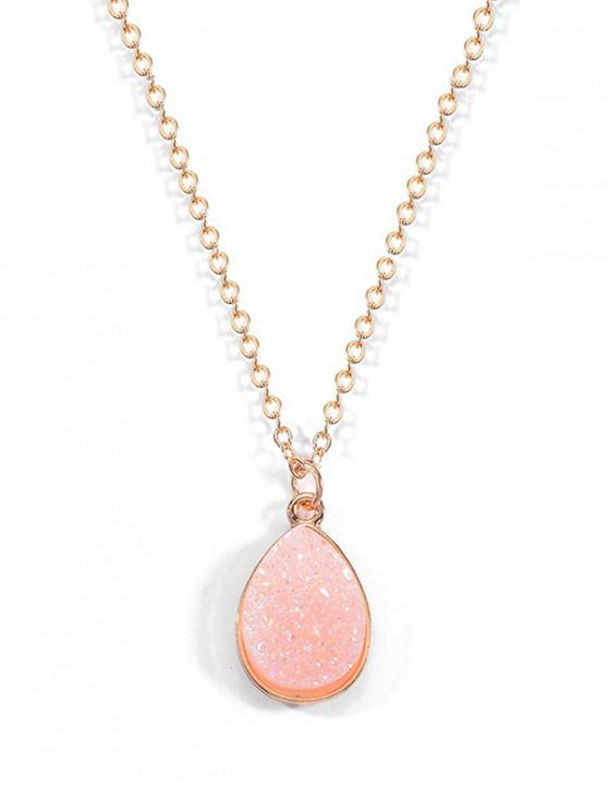 womens Natural Stone Waterdrop Pendant Necklace - LIGHT PINK
