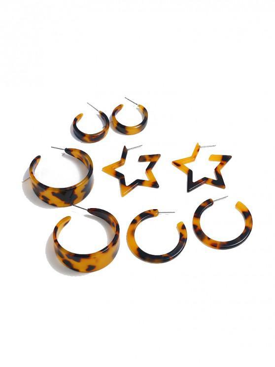 Conjunto de aretes con estampado de leopardo, estrella de círculo - Oro