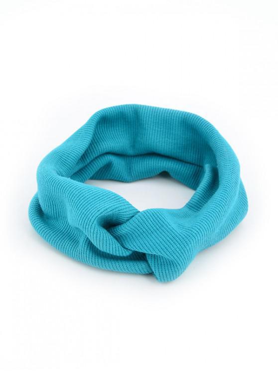 Banda de pelo elástico de punto color sólido - Azul