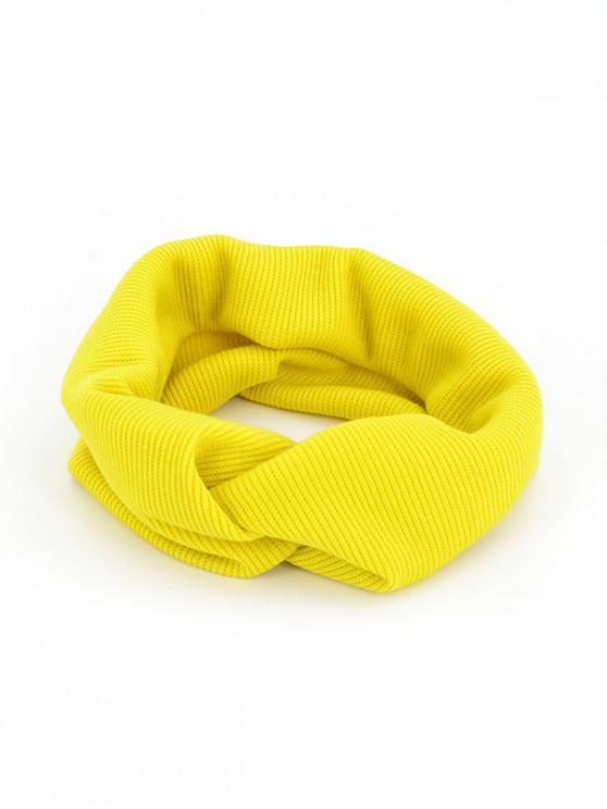 Banda de pelo elástico de punto color sólido - Amarillo