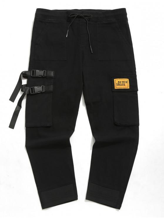 Pantaloni impunturati con tinta unita tasche con patta - Nero L