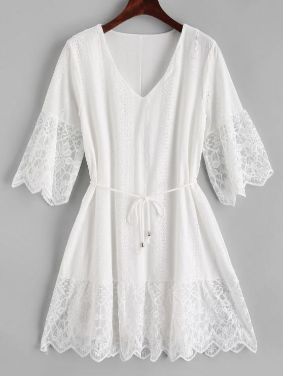 sale Mesh Panel Broderie Anglaise Tunic Dress - WHITE L