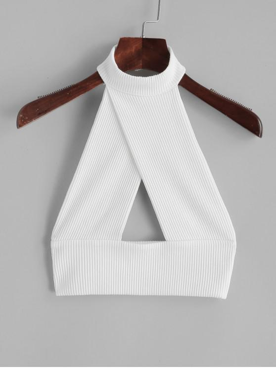 Corte sin espalda solapa sin mangas - Blanco S
