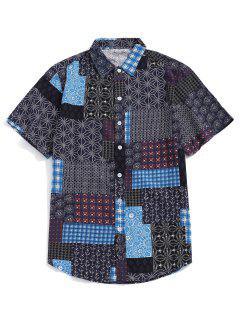 Tribal Ditsy Print Short Sleeves Shirt - Lapis Blue L