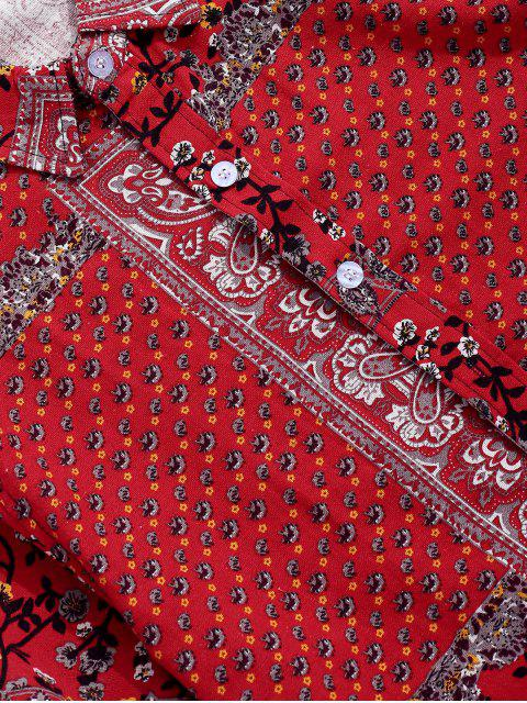 Chemise Fleurie Imprimée Tribale à Manches Courtes - Rouge 2XL Mobile