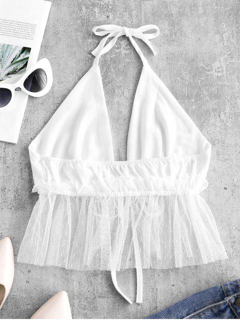 chic Tulle Panel Tie Front Halter Top - WHITE XL Mobile