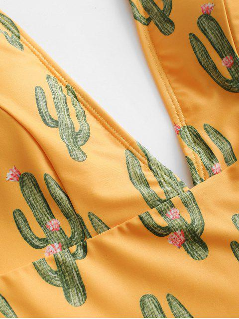 latest ZAFUL Cactus Tie Shoulder Backless Swimsuit - BEE YELLOW S Mobile