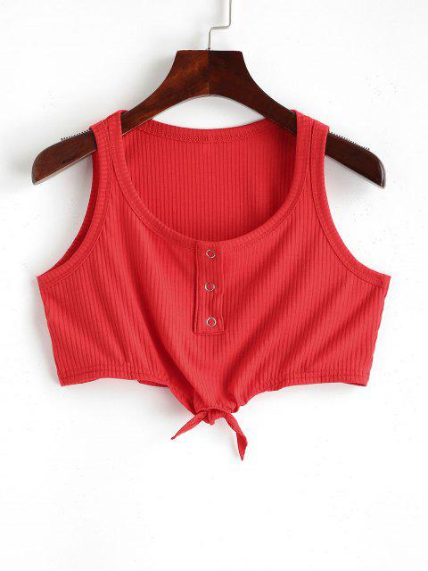 lady Buttons Knotted Crop Solid Tank Top - CHESTNUT RED 2XL Mobile