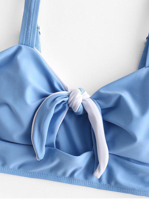 ZAFUL Maillot de Bain Tankini Noué en Blocs de Couleurs avec Trou de Serrure - Bleu de Ciel  XL Mobile