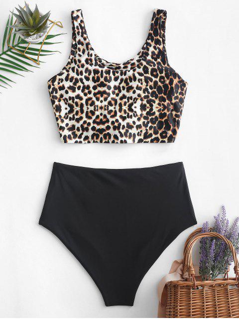 ZAFUL Bikini Tankini de cintura alta con nudo con estampado animal - Multicolor-A S Mobile