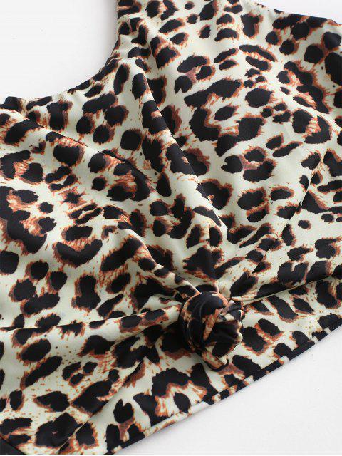 women ZAFUL Animal Print Knotted High Waisted Tankini Swimsuit - MULTI-A M Mobile