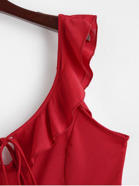 Débardeur Court avec Trou de Serrure à Volants - Rouge Rubis XL Mobile