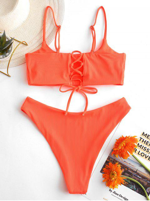 hot ZAFUL Lace-up Ribbed High Leg Bikini Swimsuit - ORANGE M Mobile