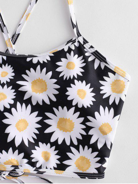 shop ZAFUL Daisy Print Lace Up Tummy Control Tankini Swimsuit - MULTI-A S Mobile