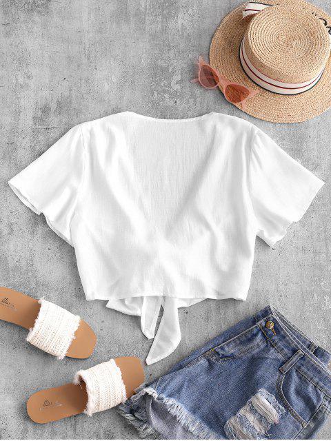 shop Plunge Tie Front Crop Top - WHITE L Mobile