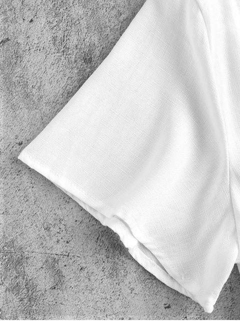 Глубокий воротник Бант впереди Короткий Топ - Белый XL Mobile