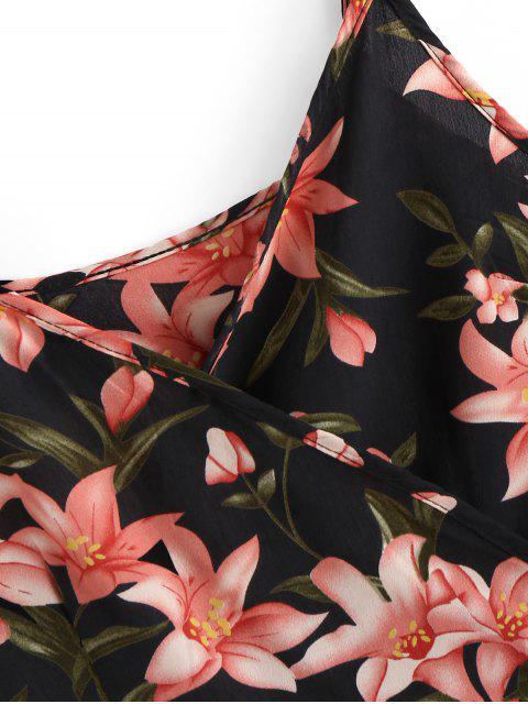 Mini Robe Fleurie à Bretelle à Volants - Noir S Mobile