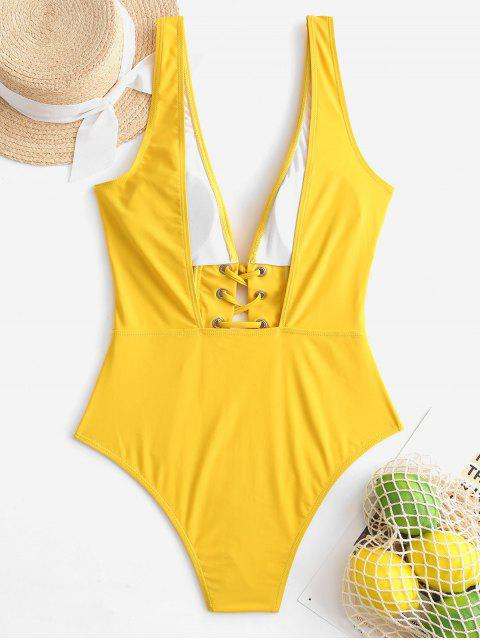 fancy ZAFUL Lace Up Plunging Open Back Swimsuit - GOLDEN BROWN S Mobile