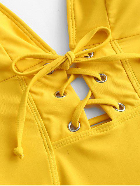 ZAFUL Lace Up Swing Swing Swing Suit Back Back - Marrón Dorado L Mobile