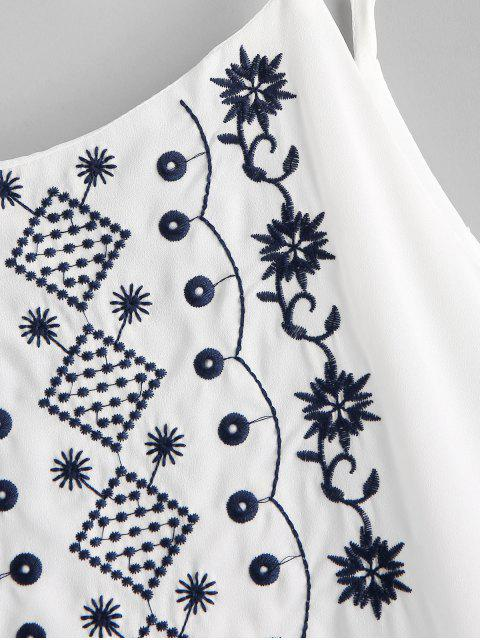 Mini Robe Ligne A Brodée à Bretelle - Blanc S Mobile