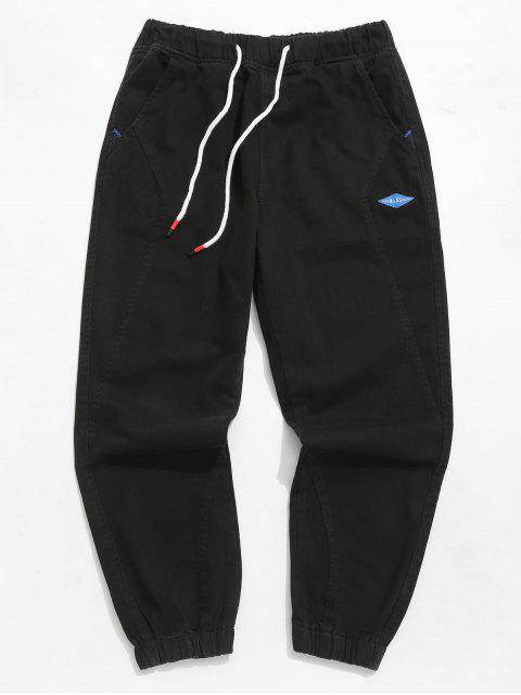 Pantalon de jogging à lettre de couleur unie - Noir M Mobile