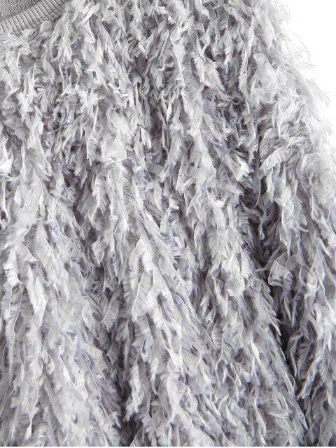 sale ZAFUL Solid Color Drop Shoulder Fuzzy Sweatshirt - DARK GRAY L Mobile