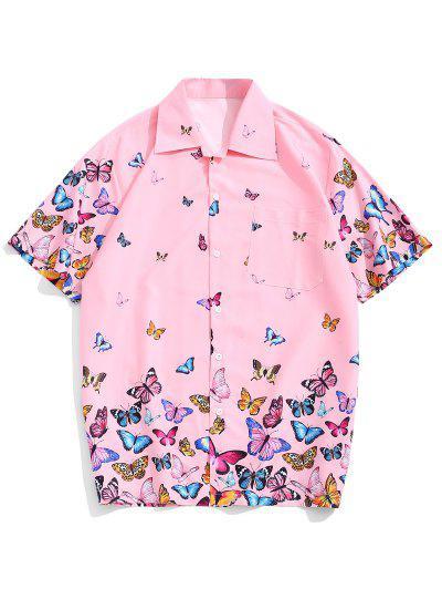 4f2fb96b428c Allover Butterflies Print Casual Short Sleeves Shirt - Pink M ...