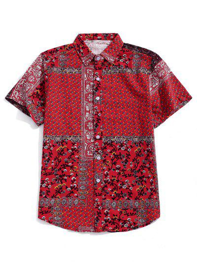 Tribal Ditsy Print Short Sleeves Shirt - Red 2xl