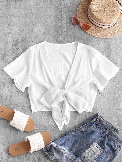 Plunge Tie Front Crop Top - White Xl